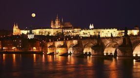 Prague, Charles Bridge at night Royalty Free Stock Photography