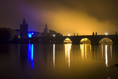 Prague - Charles bridge in the night Stock Photos