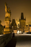 Prague - Charles bridge in the night Royalty Free Stock Image