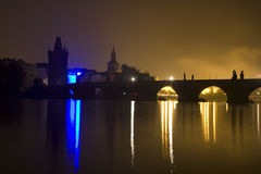 Prague - Charles bridge in the night Stock Photography