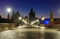 Prague Charles bridge at night Royalty Free Stock Photography