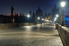 Prague Charles bridge at night Royalty Free Stock Photos