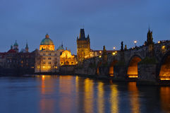 Prague Charles Bridge by night Stock Photography