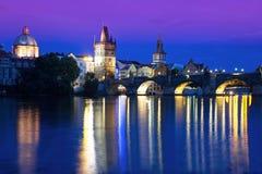 Prague, Charles bridge. Charles bridge in Prague at night, blue hour in Czech Republic Stock Image