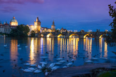 Prague, Charles bridge. Charles bridge in Prague at night, Czech Republic Royalty Free Stock Photos