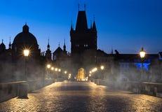 Prague, Charles Bridge at night Royalty Free Stock Image