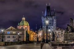 Prague Charles Bridge at Night royalty free stock image