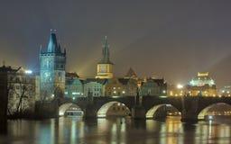 Prague Charles Bridge by Night royalty free stock images