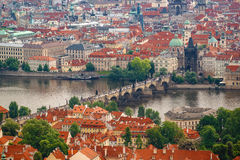 Prague Charles Bridge from Petrin Hill Stock Photography