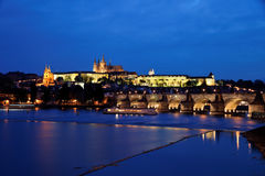 Prague, Charles Bridge and Prague Castle Royalty Free Stock Images