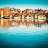 Prague, Charles bridge reflected in Vltava river Royalty Free Stock Photography