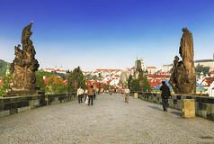 Prague, Charles Bridge in the summer day Royalty Free Stock Image