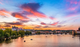 Prague, Charles bridge in sunset Stock Photos