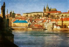 Prague, Charles Bridge,  textured old paper Stock Image
