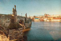 Prague, Charles Bridge, textured old paper Stock Photos