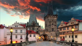 Prague - Charles Bridge, time lapse Stock Photography