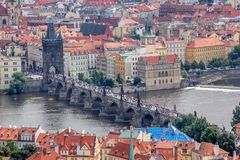 Prague. Charles Bridge. Top View. Top view of historical district of Prague. Charles Bridge. Historical buildings covered by orange tiles royalty free stock photo