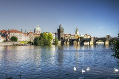 Prague - Charles bridge and Vltava river Stock Image