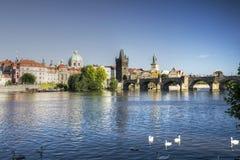 Prague - Charles bridge and Vltava river stock image
