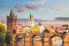 Prague - Charles bro, Tjeckien Arkivbilder