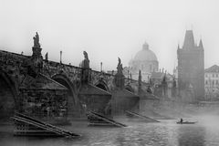 Prague Charles IV Bridge in fog Stock Images