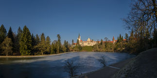 Prague, Chateau Pruhonice with pond panoramic winter view Stock Photo