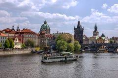 PRAGUE, CHEZH REPUBLIC - JAN 28, 2017: Prague river Vltava, Czec Stock Photo