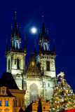 Prague Christmas market on Old Town Square with gothic Tyne cathedral Royalty Free Stock Images