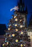Christmas tree on Prague Old Town Square Royalty Free Stock Image
