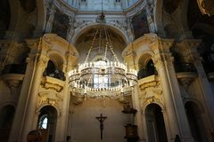 Prague church interior. As nice architecture background Royalty Free Stock Image