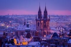 Prague church in morning light Royalty Free Stock Photo