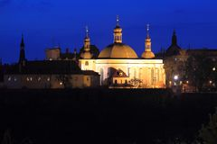 Prague church at night Royalty Free Stock Images
