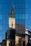 Prague church reflection. Old Prague church reflection on a moderm office building Stock Image