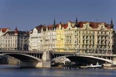 Prague city and bridge in summer Royalty Free Stock Image