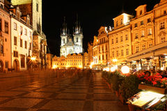 Prague city center at night. Royalty Free Stock Images