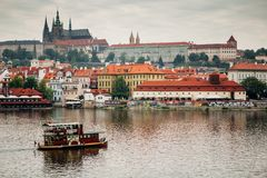 Prague city center. City center of Prague with river Royalty Free Stock Images