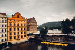 Prague. City center view with river Royalty Free Stock Photo