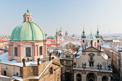 Prague city center in winter Royalty Free Stock Image