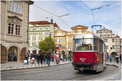Prague city centre tram. The efficient tram network in the charming and historic Prague city centre, which is a UNESCO World Heritage Site Stock Photography