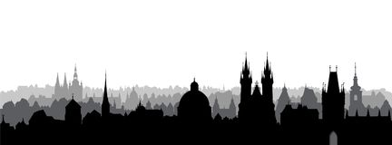 Prague city, Czech. Skyline view. Cityscape with cathedral landmark building. Royalty Free Stock Images