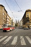 Prague City Detail. A street car travels down the street in old town Prague, Czech Royalty Free Stock Images
