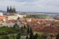Spring Prague City with gothic Castle and the green Nature and flowering Trees, Czech Republic Royalty Free Stock Images