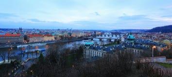 Prague City with its Bridges above River Vltava after the Sunset, Czech Republic Stock Photos