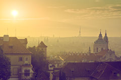 Prague City Morning Skyline Royalty Free Stock Images