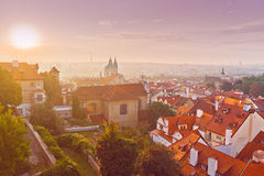 Prague City Morning Skyline Stock Photography