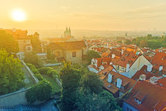 Prague City Morning Skyline Stock Photo
