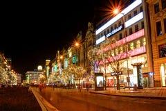 Prague City at Night Stock Images