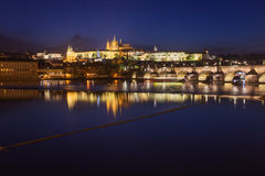 Prague city at night, Charles Bridge, Hradcany Stock Images