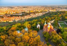 Prague city panorama. Aerial view of Petrin hill park and Vltava river from Petrin lookout tower, Prague, Czech Republic Royalty Free Stock Photos