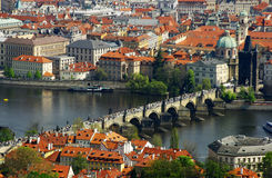 Prague city panorama with Charles bridge. And river Vltava Royalty Free Stock Image
